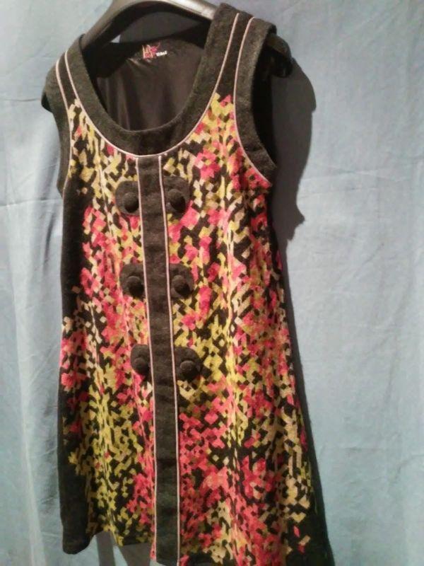vestido exclusivo lana bicolor Paris