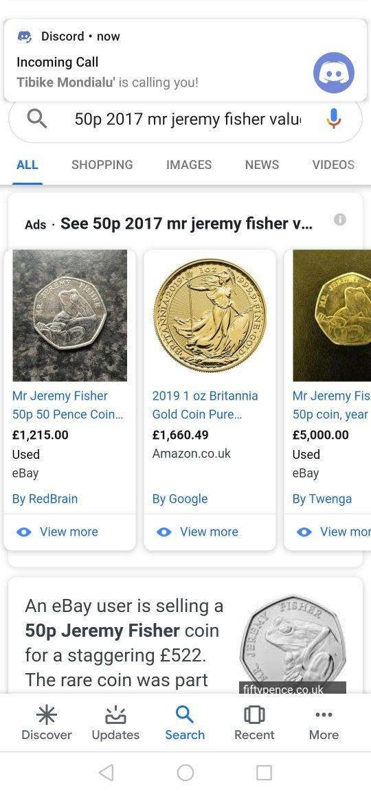 50p 2017 Mr jeremy fisher