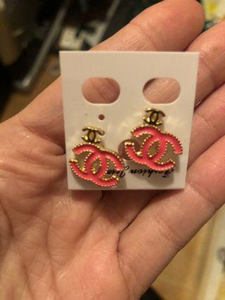 pendientes bisutería lujo color rosa