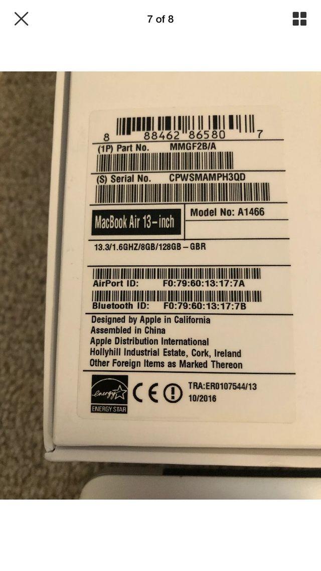 MacBook Air 13inch 2016 128gb
