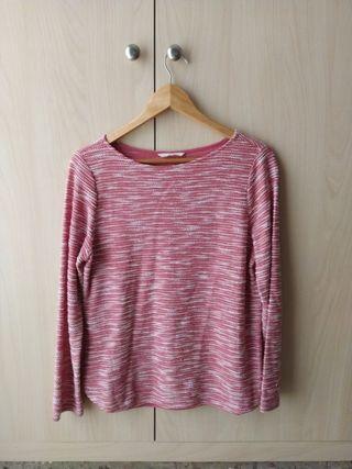 Suéter/jersey rosa y blanco talla S.