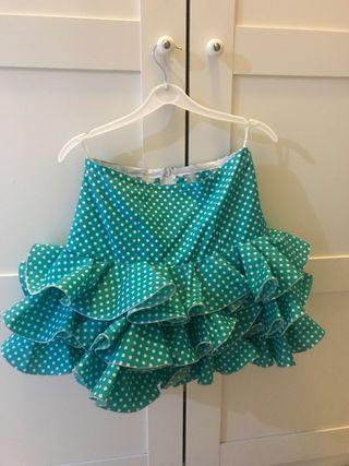 Falda de flamenca talla 34 verde agua