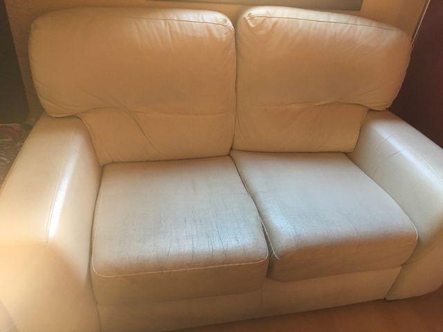 Sofa blanco piel sintetica