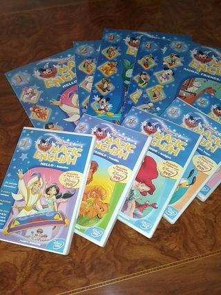 Magic English 25 DVD , fascículos y diccionario.