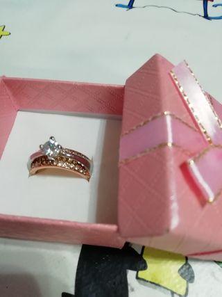 anillo 2 colores plata de ley n 6.7