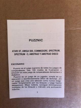 Manual juego Commodore C64 Puzznic