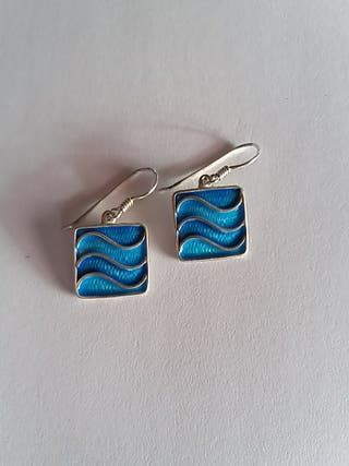 pendientes plata azul