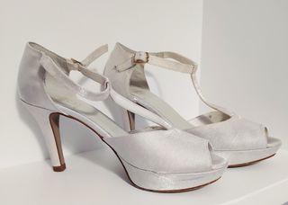 zapatos de novia blanco roto
