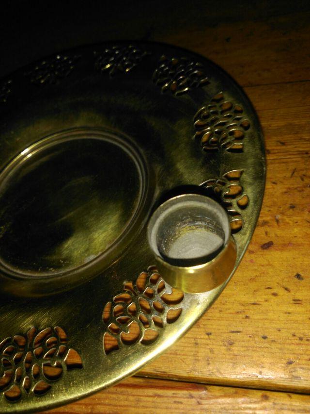 antiguo plato metal para celebracion liturgica