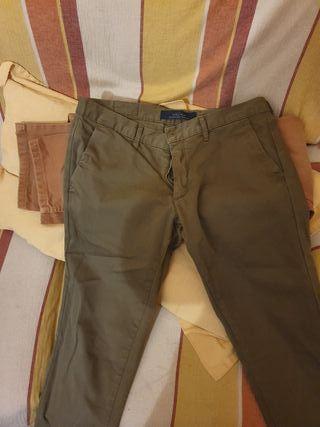 Pantalones del Zara y pull&bear.