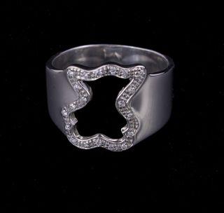 Anillo Tous en Oro Blanco con diamantes.