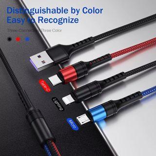 3 en 1 Cable USB 3A para teléfono móvil Micro USB