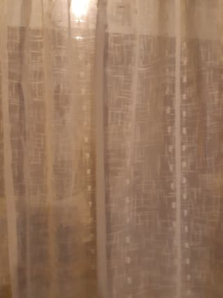 Visillo de hilo beige alta calidad confeccionado
