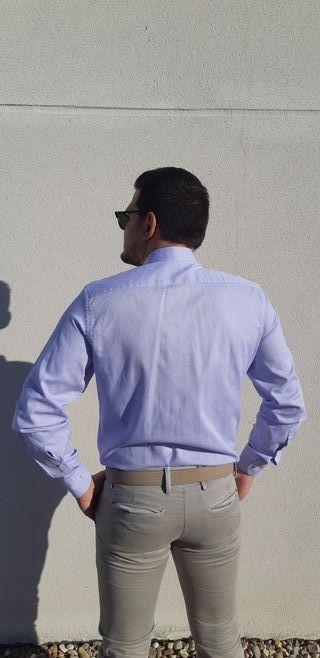 NUEVA Camisa italiana azul 100% algodón
