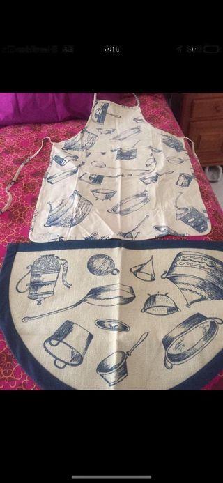 Delantal algodón y alfombra cocina a juego.Nuevo!