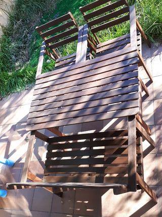 Conjunto mesa sillas jardin