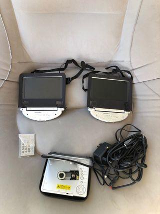 DVD portátil dos pantallas para el coche