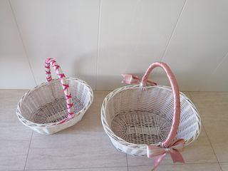 cestas de mimbre lacadas en blanco
