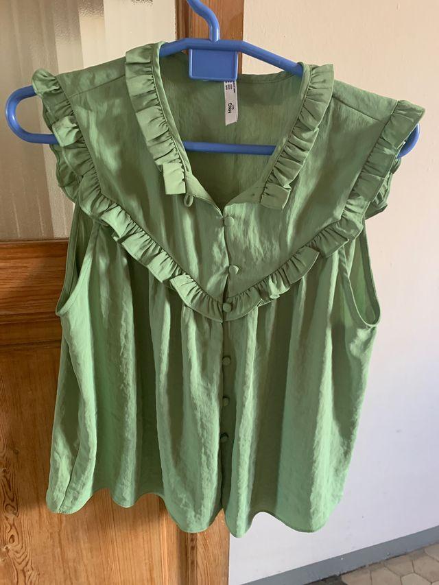 Blusa de tirantes verde menta Mango
