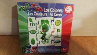 Puzzle Pjmasks sobre los colores. Educa