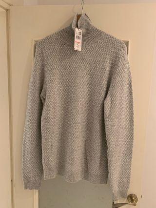 Jersey gris de cuello alto -Talla M