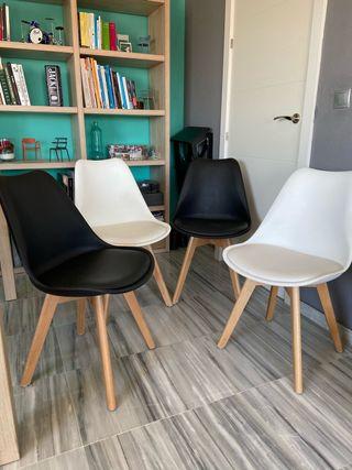 4 sillas estilo nórdico blanco y negro