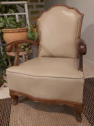 Sillón sofá descalzadora vintage de cuero