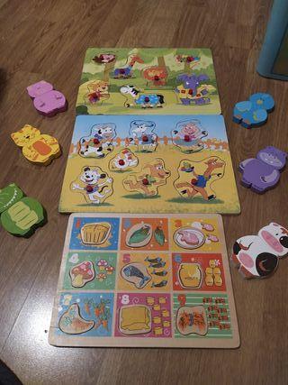 conjunto puzzles madera