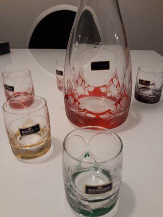 Juego de licorero cristal de bohemia