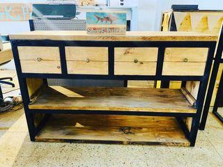 Mueble consola cajonera industrial madera hierro