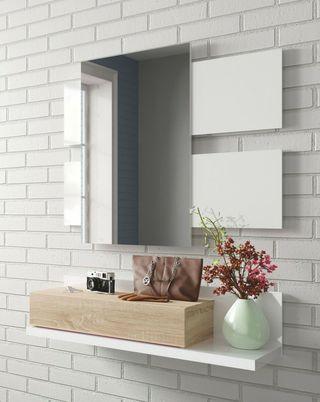 Mueble recibidor con cajón y espejo incluido