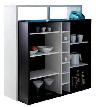 Mueble bar armario color blanco y negro