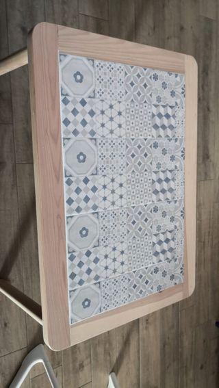 Mesa de centro madera pino con azulejos hidraulico