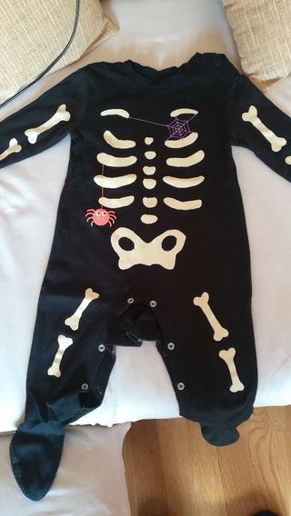 Pijama Disfraz esqueleto bebé