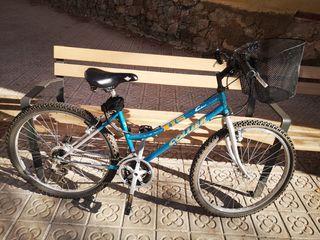 Bici urbana mujer con cesto y cadena de seguridad