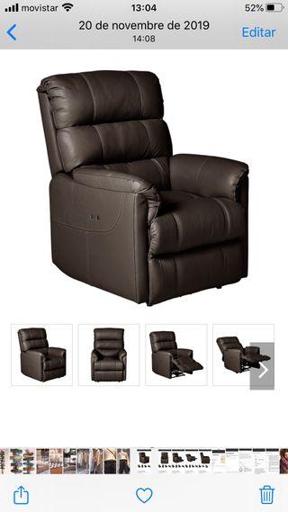 Sillón de piel con relax eléctrico reclinable