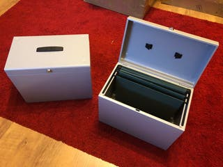 2 Metal file boxes for documents with locks