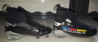 2 botas esquí de fondo clásico y patinador