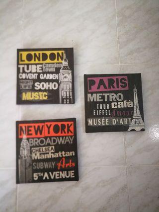 conjunto 3 lienzos ciudades