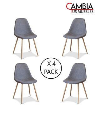 Pack 4 sillas comedor salón KOS tapizadas Vintage