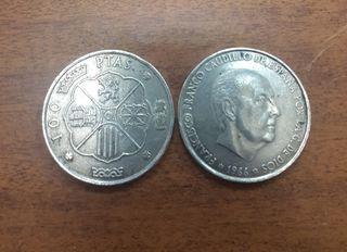 Dos monedas 100 ptas 1966