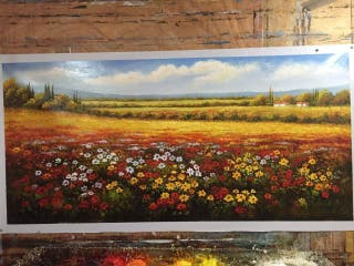 paisaje floral al oleo