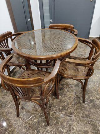 Mesa y sillas rústica madera