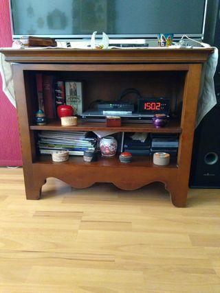 Mesa de TV de madera maciza, giratoria