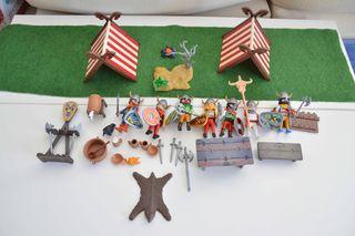 playmobil campamento vikingo con 7 vikingos.
