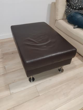 Puff de cuero natural reposapies sofa ganga
