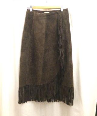 Falda cuero/piel auténtico marrón