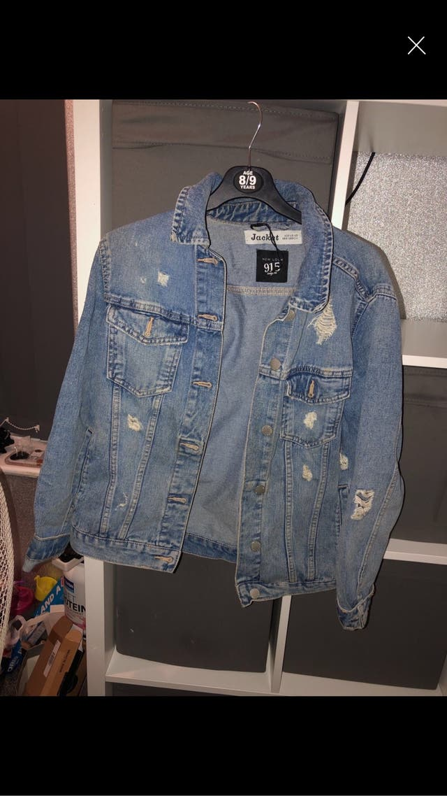 Blue denim ripped jacket