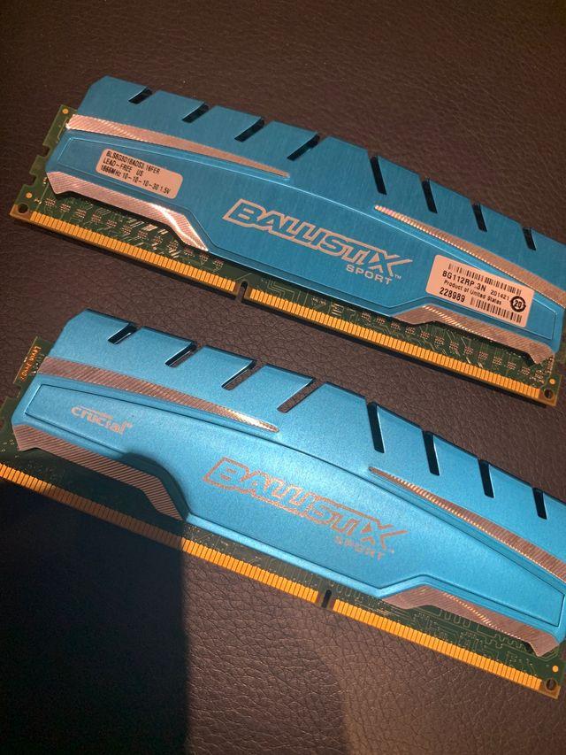 Used 2x8gb BALLISTIX SPORT DDR3 1866MHz RAM
