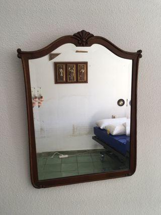 Espejo de cómoda antigua biselado